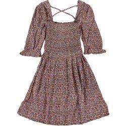 Juniors Floral Babydoll Smocked Dress