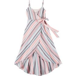 En Creme Juniors Striped Tie Waist Midi Dress