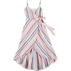 En Creme Juniors Striped Tie Waist Midi Dress