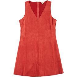 Juniors Vegan Suede Sleeveless Dress