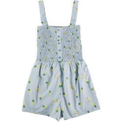 Sadie & Sage Juniors Pineapple Print and Striped Jumpsuit