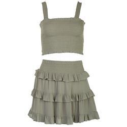 Juniors Sage Crop Top & Skirt  2-pc. Set