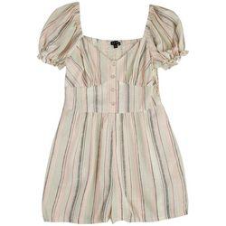 As U Wish Juniors Puffed Sleeves Pastel Stripes Romper