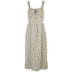As U Wish Juniors Smocked Shoulder Straps Floral Midi Dress