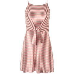 Juniors Front Tie Striped Spaghetti Strap Dress