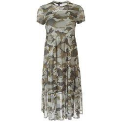 As U Wish Juniors Camouflage High Neckline Midi Dress