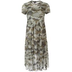 Juniors Camouflage High Neckline Midi Dress
