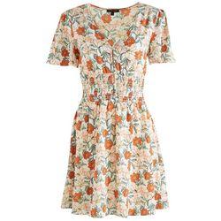 As U Wish Juniors Floral Smocked Waistline Dress