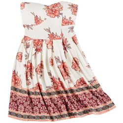 Derek Heart Juniors Yummy Floral Strapless Dress