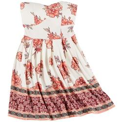 Juniors Yummy Floral Strapless Dress