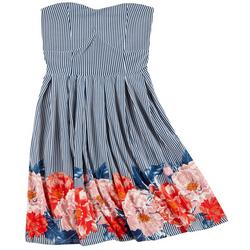 Juniors Yummy Striped Floral Strapless Dress