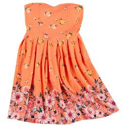 Juniors Yummy Flowery Strapless Dress