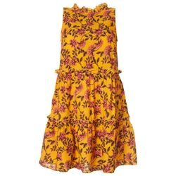 Derek Heart Juniors High Neck Ruffled Flowery Dress