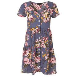 Derek Heart Juniors Floral Button Down Short Sleeve Dress