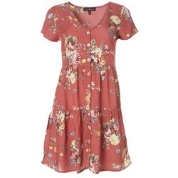 Derek Heart Juniors Floral Button Down Short Sleeve Dress