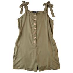 Juniors Solid Romper With a Tie