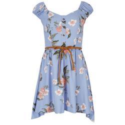 Juniors Floral Dress With Belt