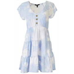 Derek Heart Juniors Tie Dye BabyDoll Dress With Faux Buttons