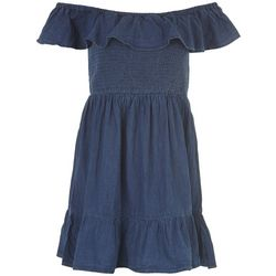 Derek Heart Juniors Denim Off The Shoulder Dress