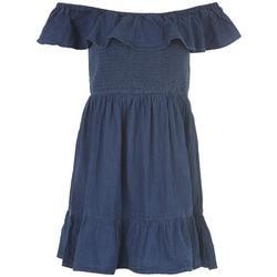 Juniors Denim Off The Shoulder Dress