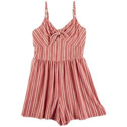 Derek Heart Juniors Striped Front Tie Romper