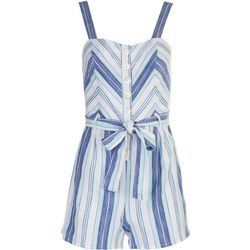 Derek Heart Juniors Striped Button Down Romper With a Tie