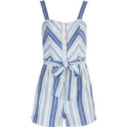 Juniors Striped Button Down Romper With a Tie