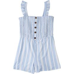 Derek Heart Juniors Smocked Striped Romper
