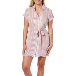 Liberty Love Juniors Striped Button Down Dress