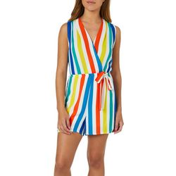 Liberty Love Juniors Striped Faux-Wrap Tie Waist Romper