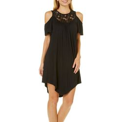 Liberty Love Juniors Solid Lace Yoke Cold Shoulder Dress