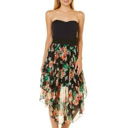 Ardene Juniors Floral Handkerchief Hem Sundress