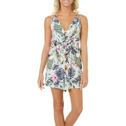 Spoiled Juniors Tropical Floral Double Strap Romper