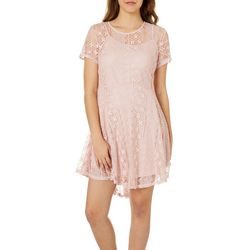 Ultra Pink Juniors Floral Lace Fit & Flare Dress