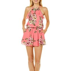Exist Juniors Floral Ruffle Front Romper