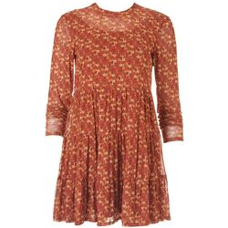 Lily Rose Juniors Long Sleeve Floral Flowy Dress