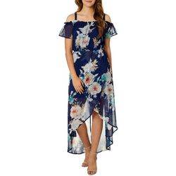 As U Wish Juniors Floral Cold Shoulder Ruffle Sleeve Dress