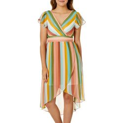 As U Wish Juniors Stripe Ruffle Sleeve Dress