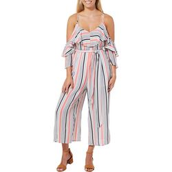 Hyfve Juniors Belted Striped Cold Shoulder Jumpsuit