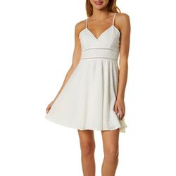 Juniors Floral Eyelet Sleeveless Dress