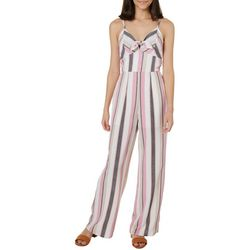 Trixxi Juniors Striped Bow Front Gaucho Jumpsuit