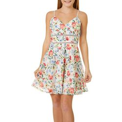 Juniors Floral Print Lace Skater Dress