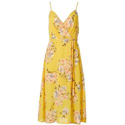 Trixxi Juniors Floral Print Faux Wrap Sleeveless Dress