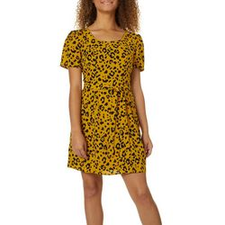 Trixxi Juniors Leopard Print Puff Short Sleeve Dress