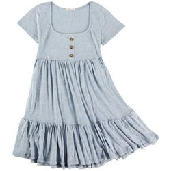 No Comment Juniors Solid Tiered Dress