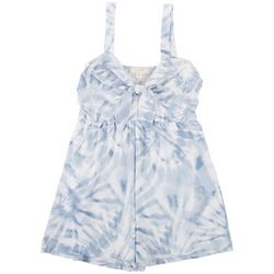 No Comment Juniors Tye Dye Romper With Tie On The Front