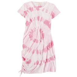 Juniors Smocked Tie-Dye Fitted Dress