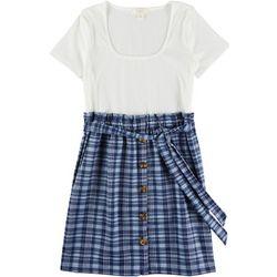 No Comment Juniors Plaid Button Placket Short Sleeve Dress