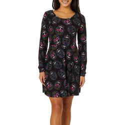 No Comment Juniors Sugar Skull Print Short Sleeve Dress