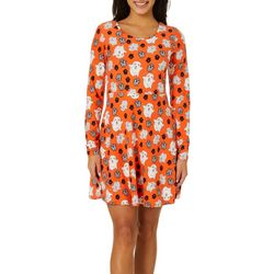 No Comment Juniors Ghost Print Short Sleeve Dress